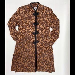 Vintage Asian Print Long Bronze Black Jacket 12